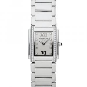 Patek Philippe Silver Diamonds Stainless Steel Twenty-4 4910/10A-011 Women's Wristwatch 25 x 30 MM