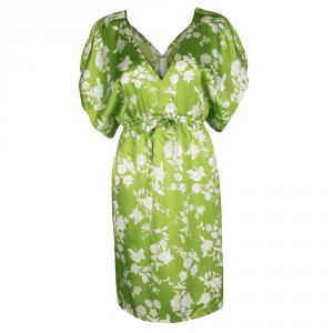 Paul and Joe Green Floral Printed Silk V-Neck Dress S