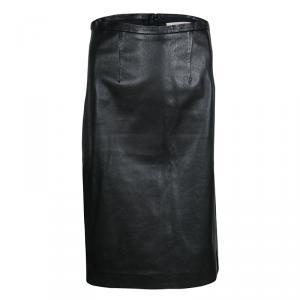 Paul & Joe Black Lamb Leather Moncuir Pencil Skirt M