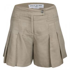 Paul & Joe Beige Pleated High Waist Shorts M