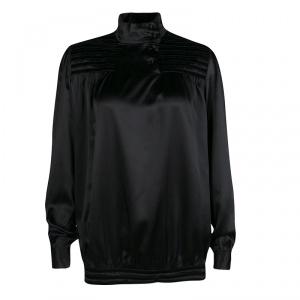 Paul and Joe Black Silk Velvet Panel Detail Long Sleeve Blouse S