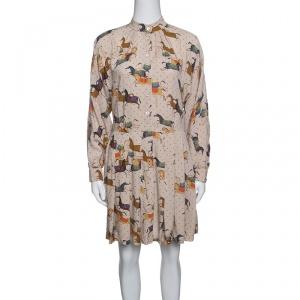 Paul and Joe Beige Horse Print Dolman Sleeve Pleated Shirt Dress S