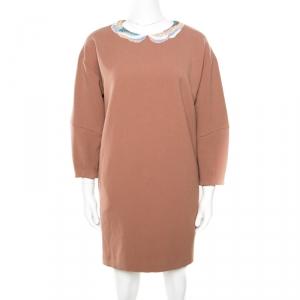 Paul and Joe Brown Embellished Neck Detail Short Sleeve Toutbon Dress S - used