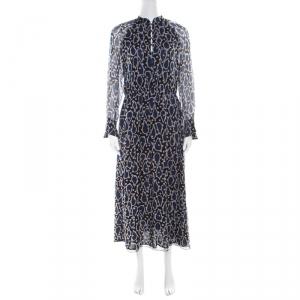 Paul and Joe Navy Blue Printed Silk Cutout Back Detail Zanzibar Dress S - used