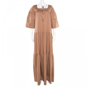 Paul and Joe Brown Lace Up Detail Tiered Veracruz Maxi Dress M - used