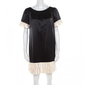 Paul and Joe Black Satin Contrast Ruffled Trim Detail Dress S - used