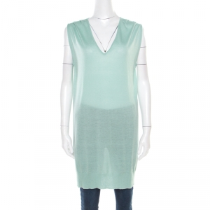 Paul and Joe Mint Green Cashmere and Silk Knit V-Neck Sleeveless Tunic M - used