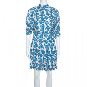 Paul and Joe Blue Floral Print Twill Pleated Skirt Dress S