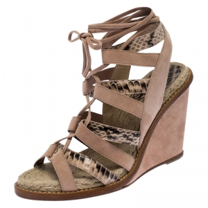 Paul Andrew Multicolor Suede And Python Leather Lace Up Wedge Sandals Size 40 - used
