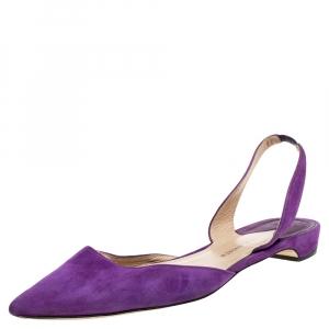 Paul Andrew Purple Suede Rhea Slingback Flat Sandals Size 41 - used