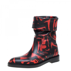 Paul Andrew Black/Red Printed Leather Rian Ankle Boots Size 37 - used