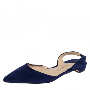 Paul Andrew Navy Blue Suede Rhea Flat  Sandals Size 38