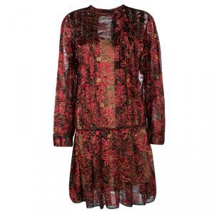 Paule Ka Red Lurex Floral Lace Pleated Shirt Dress XL