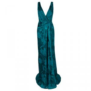 Paule Ka Emerald Floral Jacquard Draped Sleeveless Canard Gown XL