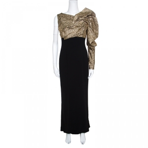 Paule Ka Gold and Black Draped Bodice Detail Evening Gown M