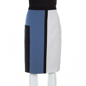 Paule Ka Colorblock Crepe Fitted Pencil Skirt L