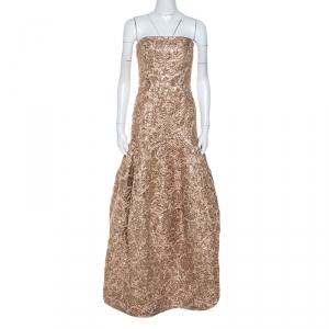 Paule Ka Metallic Jacquard Strapless Gown S