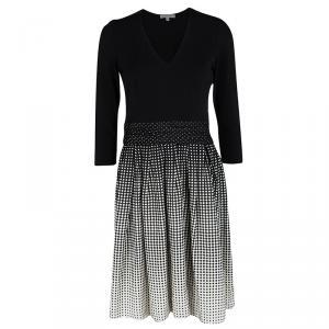 Paule Ka Monochrome Dotted Skirt Detail Long Sleeve Dress S