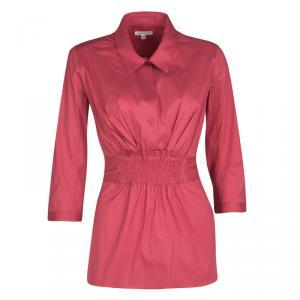 Paule Ka Pink Cotton Smocked Waist Detail Shirt M