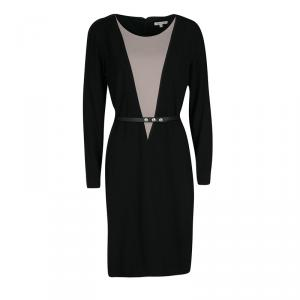 Paule Ka Black Contrast Neck Panel Detail Belted Dress M