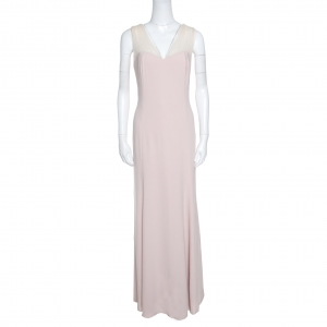 Paule Ka Blush Pink Tulle Strap Bow Detail Sleeveless Gown XL