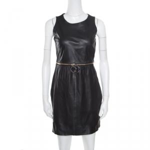 Paule Ka Black Lamb Leather Zip Detail Sleeveless Dress M