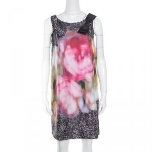 Paule Ka Multicolor Printed Silk Bow Detail Sleeveless Dress M - used