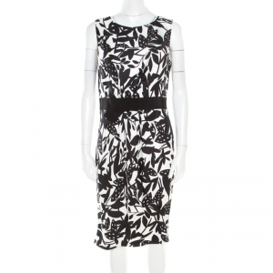 Paule Ka Monochrome Printed Silk Bow Detail Sleeveless Dress M - used
