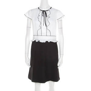 Paule Ka Monochrome Colorblock Cotton Ruffle Trim Cap Sleeve Dress M - used