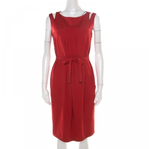 Paule Ka Red Cutout Shoulder Detail Pleated Sleeveless Belted Dress M - used
