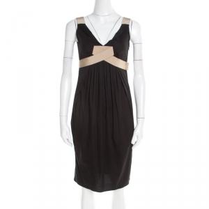 Paule Ka Black Draped Cotton Contrast Trim Sleeveless Dress S