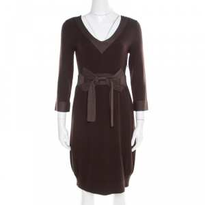 Kenzo Brown Wool and Cashmere Bow Detail Long Sleeve Sweater Dress S - used