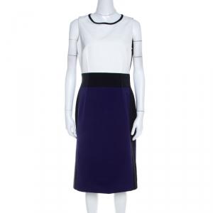 Paule Ka Black White and Purple Fitted Knee Length Dress M - used