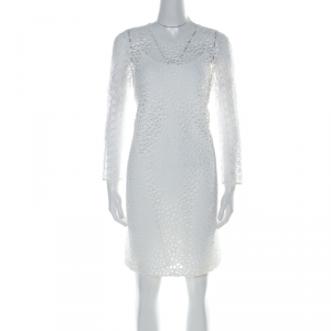 Paule Ka White Multi Lace Long Sleeve Shift Dress M - used