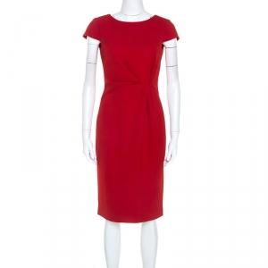 Paule Ka Red Crepe Draped Waist Detail Midi Dress S