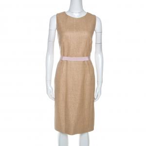 Paule Ka Beige Textured Cotton Sleeveless Sheath Dress L - used