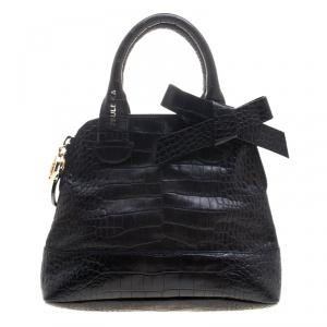 Paule Ka Black Croc Embossed Leather Bow Satchel