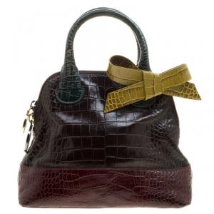 Paule Ka Multicolor Croc Embossed Leather Bow Satchel