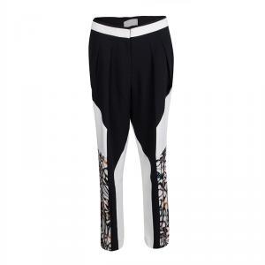 Peter Pilotto Monochrome Abstract Floral Print Straight Leg Pants M