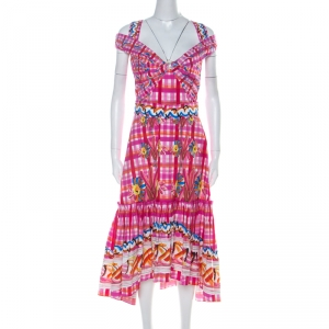 Peter Pilotto Pink Printed Cotton Poplin Cold Shoulder Ruffled Hem Dress S - used