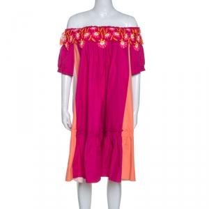 Peter Pilotto Pink Cotton Lace Detail Panelled Off-Shoulder Dress L