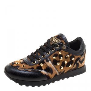 Philipp Plein Limited Edition Leopard Print Calf Hair and Leather Spike Embellished Sneakers Size 36