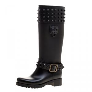 Philipp Plein Black Rubber Kingdom Studded Rain Boots Size 38