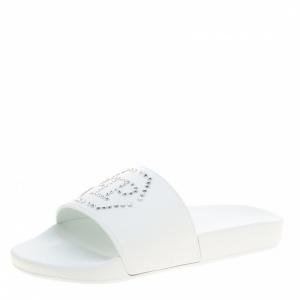 Philipp Plein White Croisette Gummy Pool Flat Slides Size 40