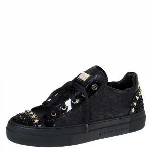 """Philipp Plein Black Lace And Patent """"Got You"""" Low Top Sneakers Size 40"""
