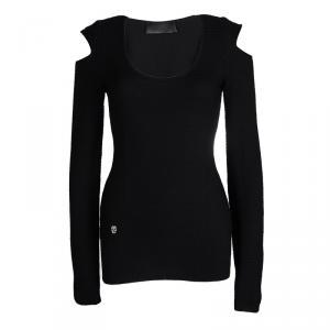 Philipp Plein Black Merino Wool Knit Cold Shoulder Detail Sweater M