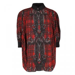 Philipp Plein Red Checked Silk British Horses Print Pleat Detail Blouse M