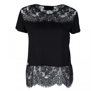 Philipp Plein Couture Black Jersey and Scalloped Lace Sheer Back Detail Top XS