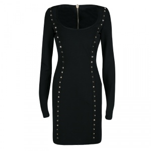 Philipp Plein Couture Black Studded Long Sleeve Bodycon Majesty Dress L