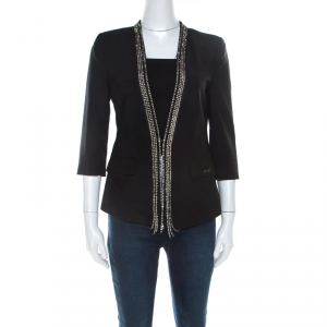Philipp Plein Couture Black Wool Crystal Embellished Tailored Jacket S